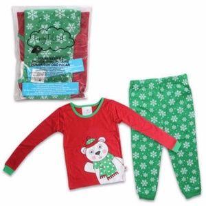 Girls Pajamas 4T Christmas Snowflake Bear New