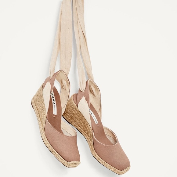 0737ae83a66 Zara Dusty Rose Espadrilles Lace Up Tie Wedge