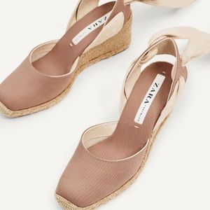 b35ec3b1271 Zara Shoes - 🆕 Zara Dusty Rose Espadrilles Lace Up Tie Wedge