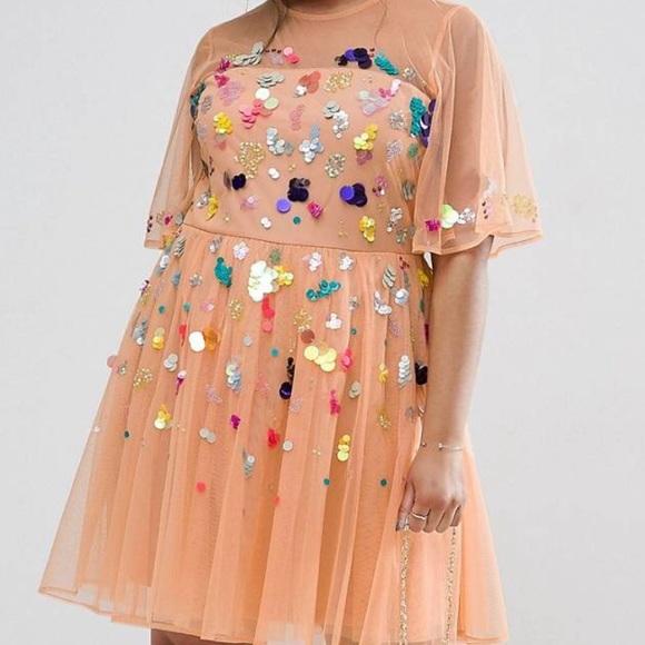df0ecca6bc5c ASOS Curve Dresses & Skirts - Asos Curve Mesh Scatter Sequins Mini Dress