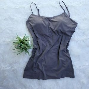 Gray tank undershirt spaghetti adjustable straps