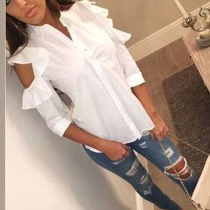 Tops - On trend crisp white cold shoulder & ruffled shirt