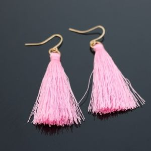 Boho Light Pink Fringe Tassel Statement Earrings