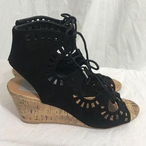 DV Black Laser Cut Sandal Bootie Wedge 7 1/2