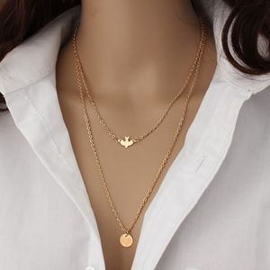 Jewelry - Gold Dove & Circle Layered Necklace