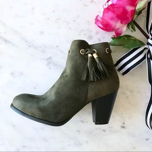 Shoes - 🎉HP🎉 Olive Green Tassel Bootie