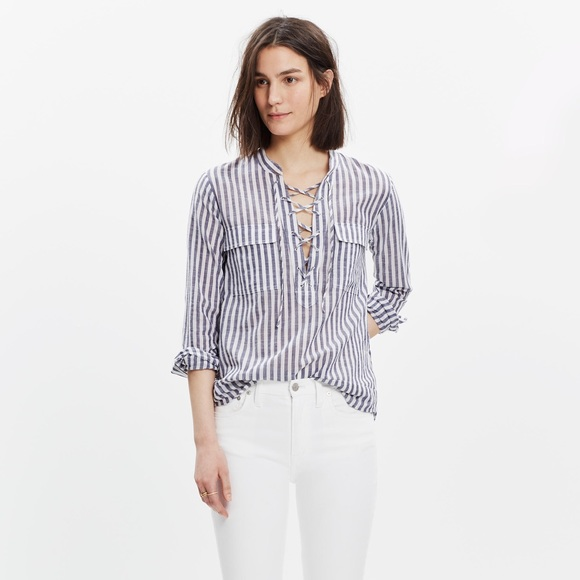82b943193 Madewell Tops   Striped Terrace Lace Up Shirt Size M   Poshmark