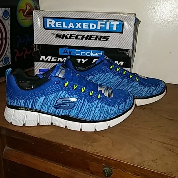 blue skechers memory foam