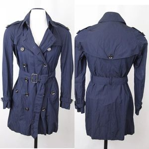 burberry brit navy trench coat size 4