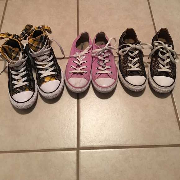 df9f3cd8bcd Converse Other - Bundle- 3 big Girl s Converse shoes high low SZ. 2