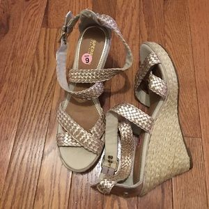 Never worn. Sperry wedge sandals. Size 9