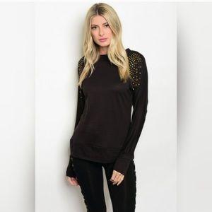 Tops - Super soft black Studded Top
