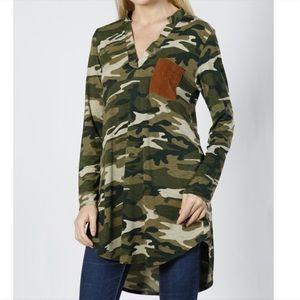 Tops - Hi-Lo Camo Top with Breast Pocket