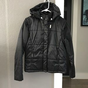 Nike Black Quilted Jacket Vest W/ Hood Medium