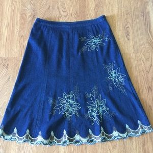 Tribal Jean Skirt
