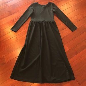 👗black long sleeve midi dress