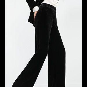 ZARA BLACK VELVET HIGH WAIST PANTS