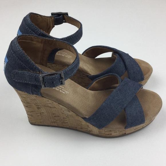 Toms Shoes - TOMS Denim Cork Wedges