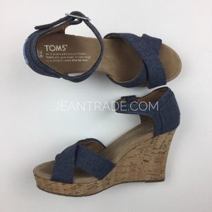 TOMS Denim Cork Wedges