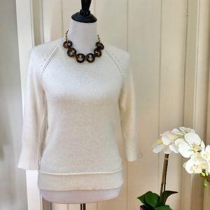 CYNTHIA ROWLEY Ivory Angora Blend Sweater