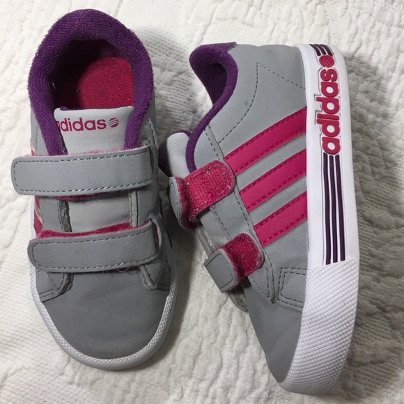 new arrival 2e12b 1e85c Adidas Neo Gray Purple toddler girls sneakers 7k