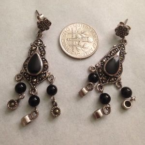 Jewelry - 92.5 sterling silver and onyx dangle earrings