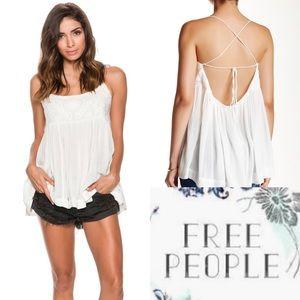 Free People White Blackbird Blouse Top