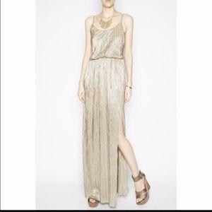 BCBGeneration Gold high slit maxi dress