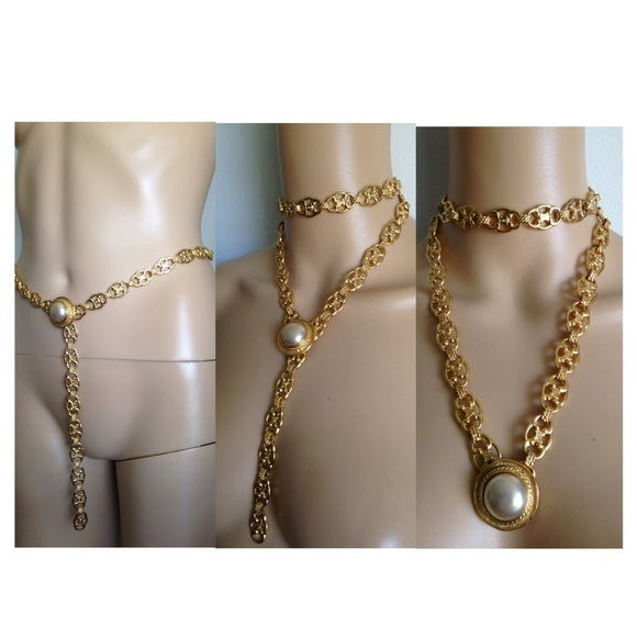 Celine Accessories - Celine Chain Belt Macadam Pearl Necklace Italy