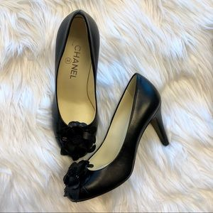 CHANEL Shoes - Chanel Camelia Flower Black Pumps
