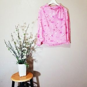 NWT TOPSHOP Pink Silk Button Down with Faux Scarf