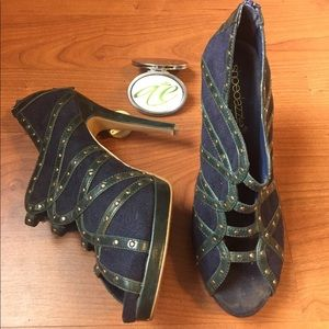 #Navy & #Green #Leather & #Suede #Studded #Bootie