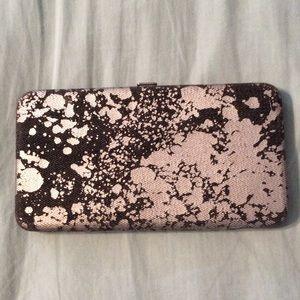 Handbags - Black and silver paint splatter print clasp wallet