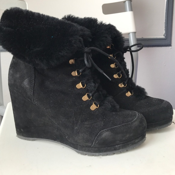 L.K. Bennett Faux Fur Wedge Booties sneakernews cheap price outlet fashionable sale visit cheap discounts free shipping visit new umKYW7