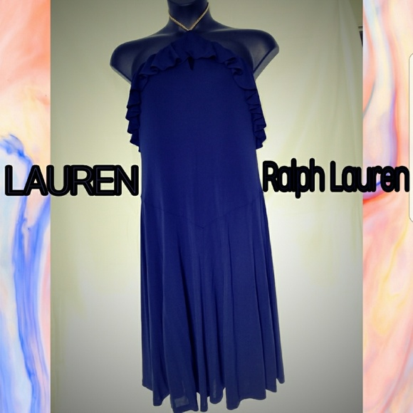 RALPH LAUREN Ruffle Halter Plus Size Dress