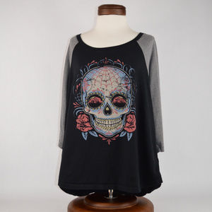 {Torrid} Day of the Dead Long Sleeve Baseball Tee