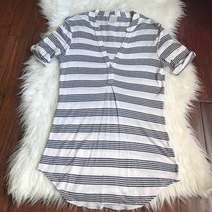 Anthro Elsa Moss 1/4 Sleeve Black Striped Blouse