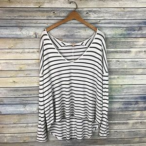 Bordeaux Anthropologie Striped High Low Tee