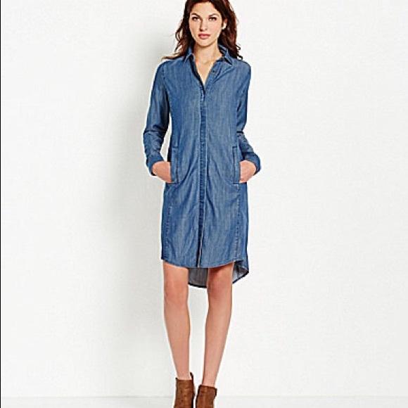 3d8063c8cc7 HP 11 3 Eileen Fisher denim shirt dress duster L