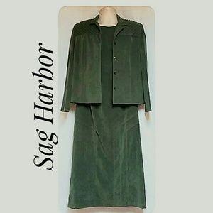Petites Sag Harbor Faux Suede Maxi-Dress & Jacket