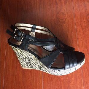 Shoes - Black Platform Wedge Sandals