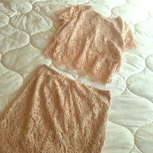 Two piece blush pink lace set