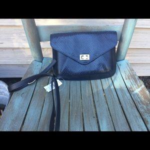 Women's Talbots Navy Blue Leather Crossbody Bag