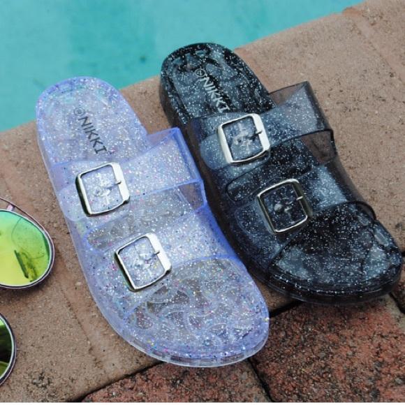 Shoes Silver Glitter Jelly Buckle Slide Poshmark