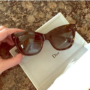 Brown Dior cat eye sunglasses