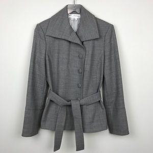[St. John] Gray Wool Jacket Blazer Belted Career 6