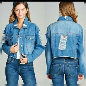 Ultra Distressed Crop Jean Jacket Pockets
