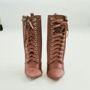 Shoes - Mauve Satin Lace Up Stiletto Booties