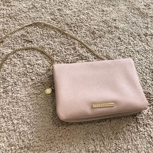 BCBG Gold Chain Strap Cross-Body in Dusty Pink