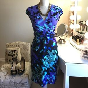 Bold beautiful pattern faux wrap Sheath Dress